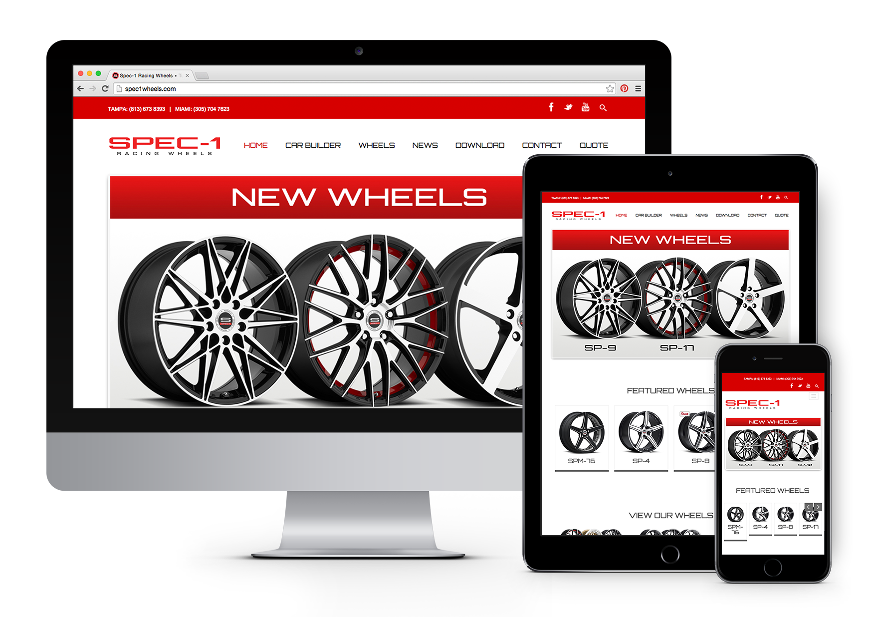 Spec-1 Racing Wheels Responsive Website Design